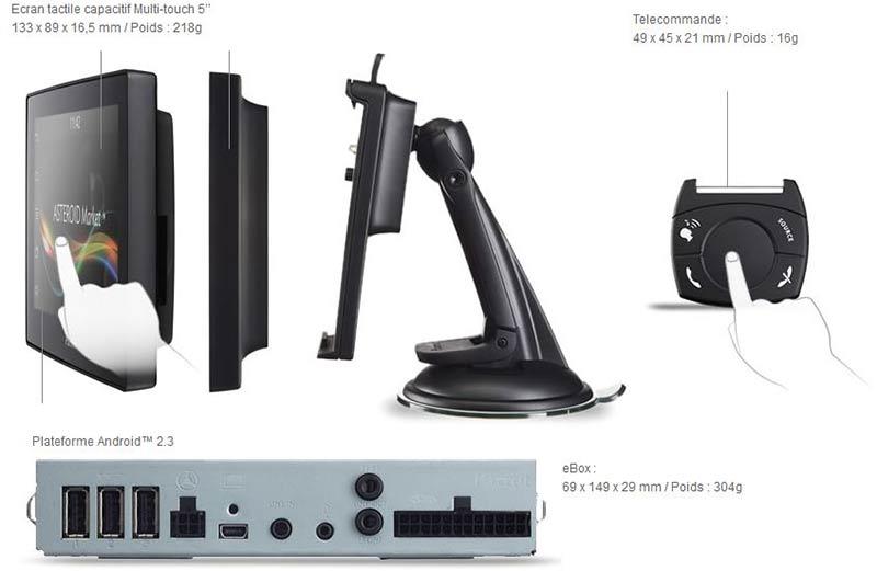 parrot asteroid tablet kit mains libres bluetooth android waze handsfree kit. Black Bedroom Furniture Sets. Home Design Ideas