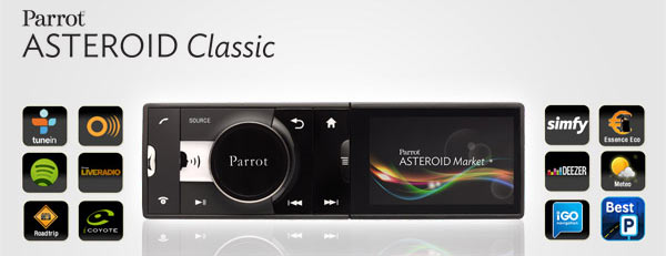 autoradio parrot asteroid classic android gps bluetooth apps univers. Black Bedroom Furniture Sets. Home Design Ideas